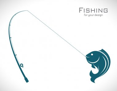 Vector images of fishing rod and fish on white background