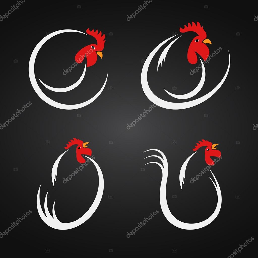 Vector image of an chicken design on black background