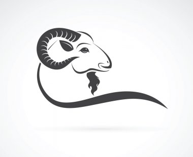 Vector image of an goat head design on white background
