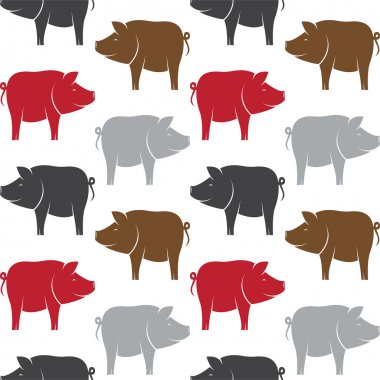 Vector seamless pattern with pig on white background. wallpaper