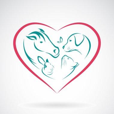Vector image of animal on heart shape on white background, horse
