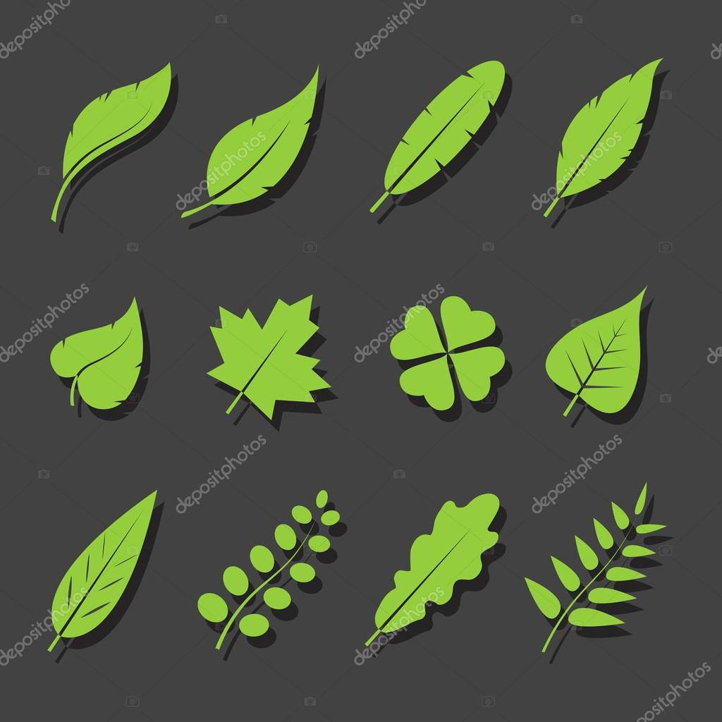 Vector leaves green icon set on black background