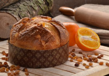 Panettone bread and ingredients