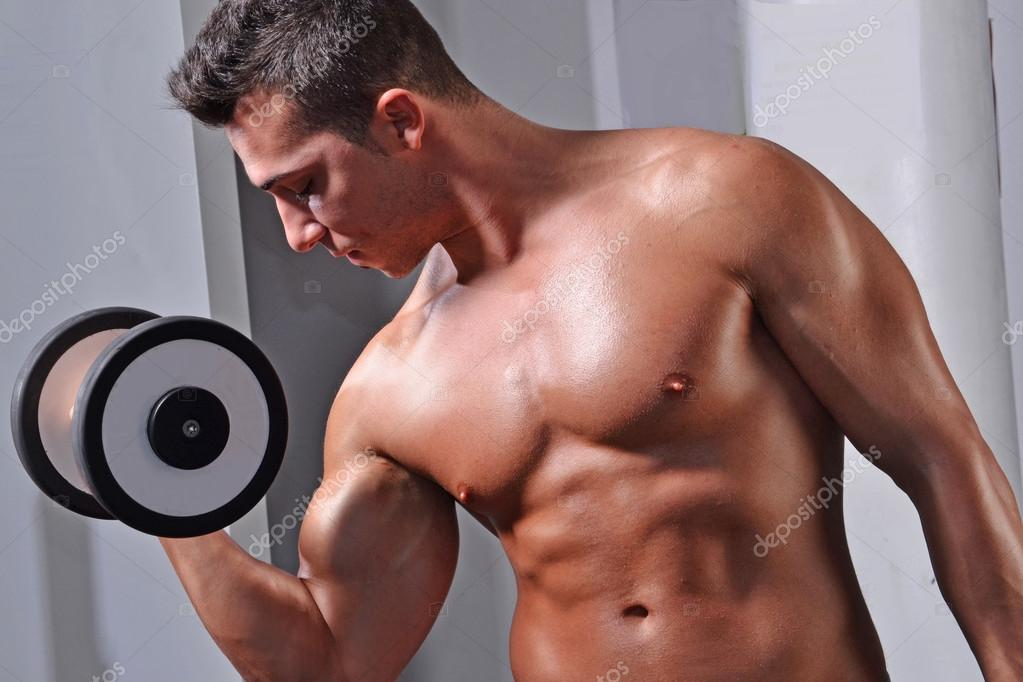 Man Training Bicep Muscles Stock Photo Gosphotodesign 76127307