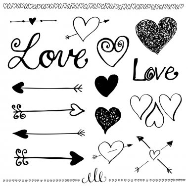 Ink hand-drawn doodle love set. Pen drawn heart, heart line and arrows. Valentine's Day elements. Vector illustration. clip art vector