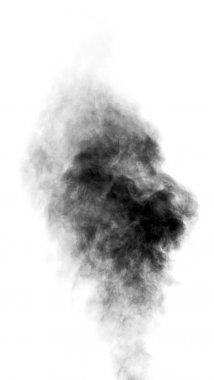 Black steam looking like smoke on white background
