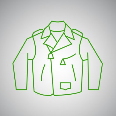 Men`s Leather jacket thin line design. Green on the gray. stock vector