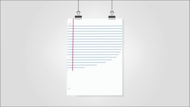 Üres papírlapok lógnak a falon. 4K animált