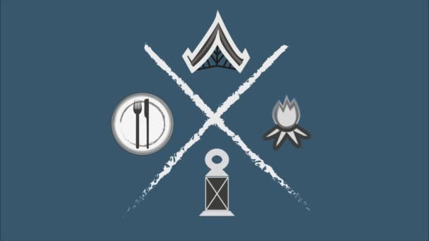 Camping sátor Utazás Kaland ikon Vonalrajz Animáció Átlátszó