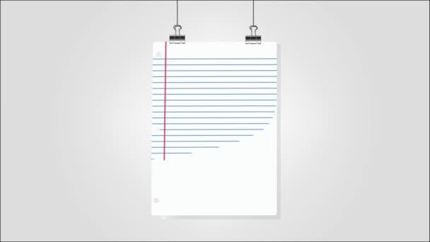 Na stěně visely prázdné listy papíru. Animovaný 4K
