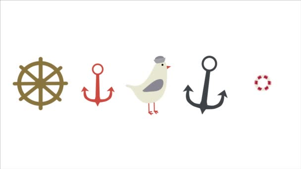 Marine icons set for sea resort or yacht club