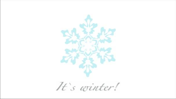 A téli köszöntő szöveg hópihe elszigetelt fehér
