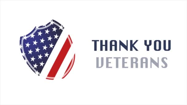 Veterans Day, Honoring all who served, Shield USA, HD animation