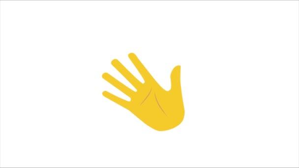 Ikona Clubhouse aplikace s máváním rukou izolované na žluté. Animovaný 4k