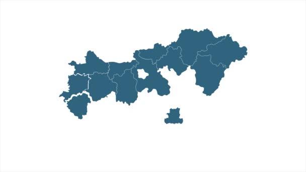 Animovaná mapa Maďarska. Gray Blank Maďarsko Mapa na bílém pozadí. Mapa světa 4K Ultra HD.
