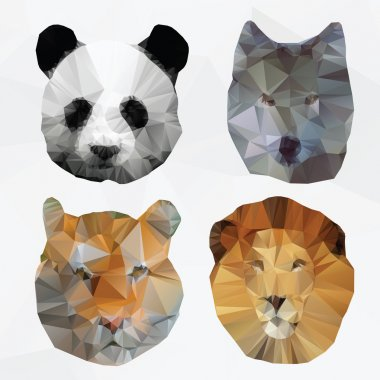 Vector abstract polygonal animals