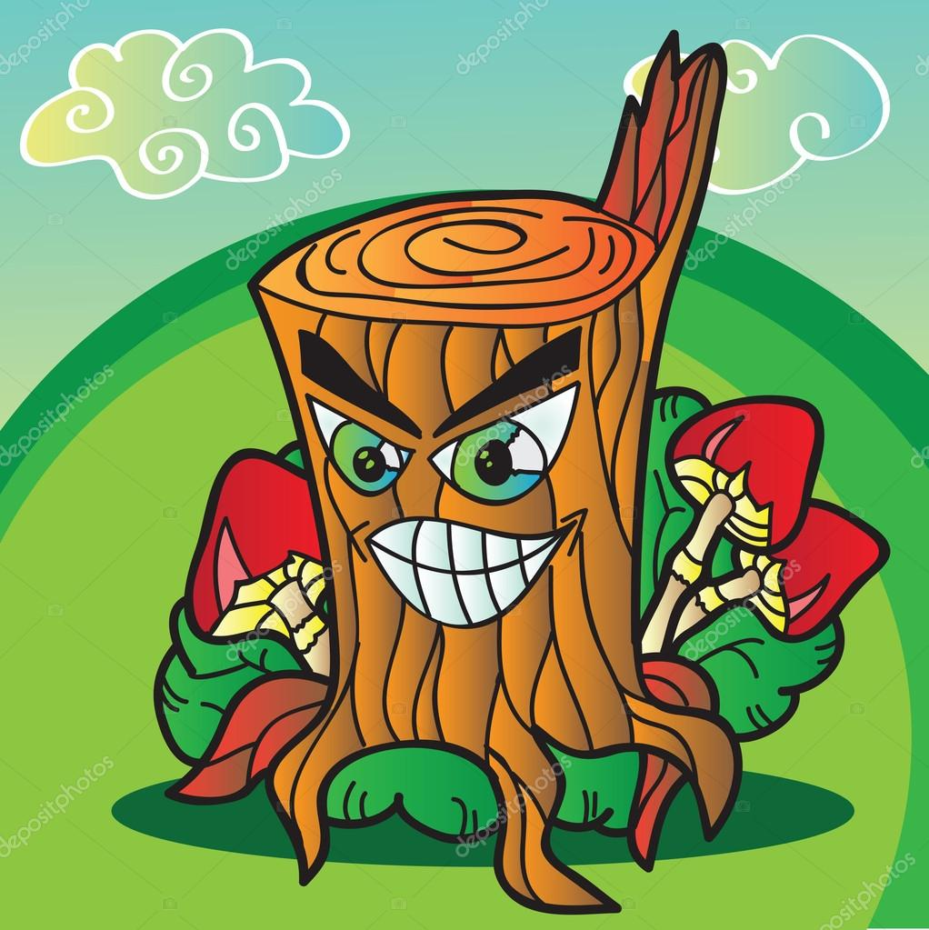 illustration of  mushrooms with funny tree stump