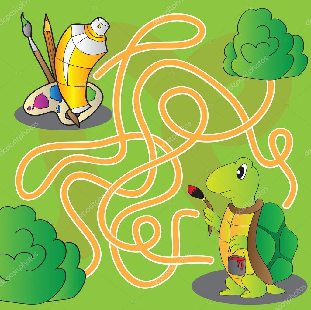 Labyrinth für Kinder - Hilfe, die die Schildkröte zu Farben und ...