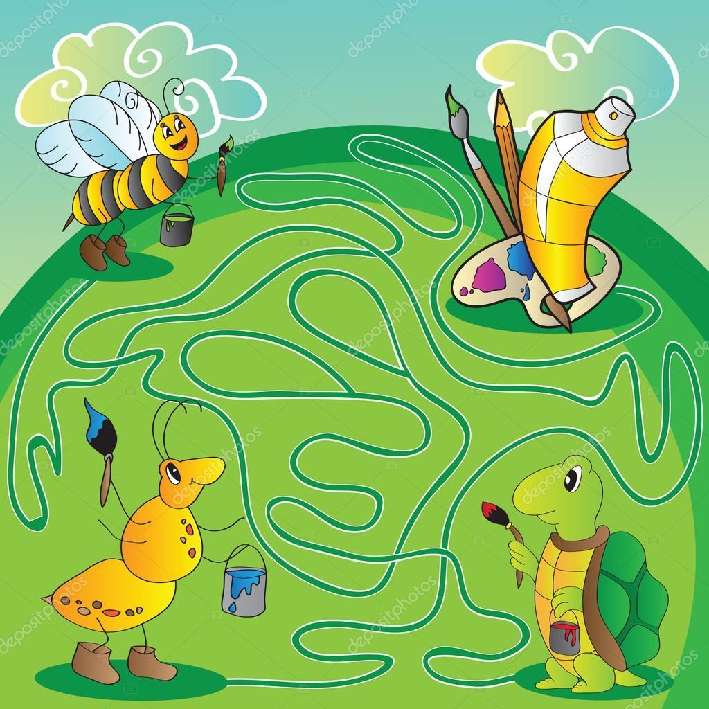 Labyrinth für Kinder - Hilfe, die Schildkröte, Ameise, Biene lernen ...