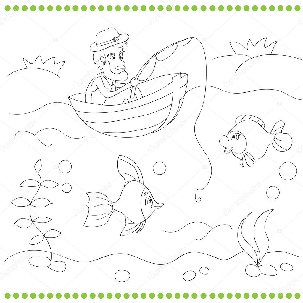 Libro para colorear con pescador — Archivo Imágenes Vectoriales ...