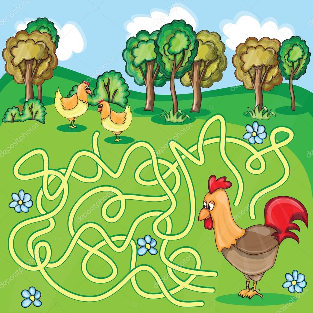 Funny Maze Game -  Cartoon Chicken Farm Style - vector Illustration stock vector