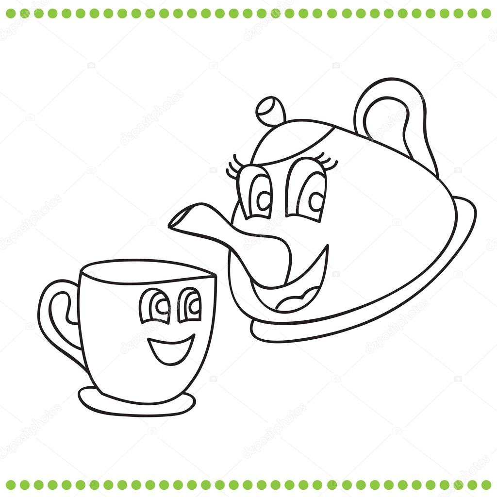 Funny Teapot Funny Teapot And Cup Coloring Book Stock Vector