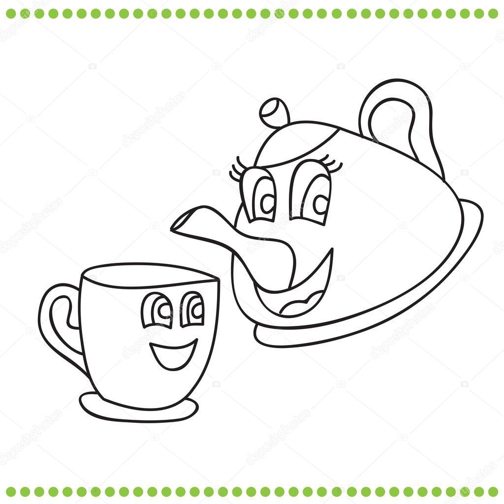 Komik çaydanlık Ve Bardak Boyama Kitabı Stok Vektör Brill