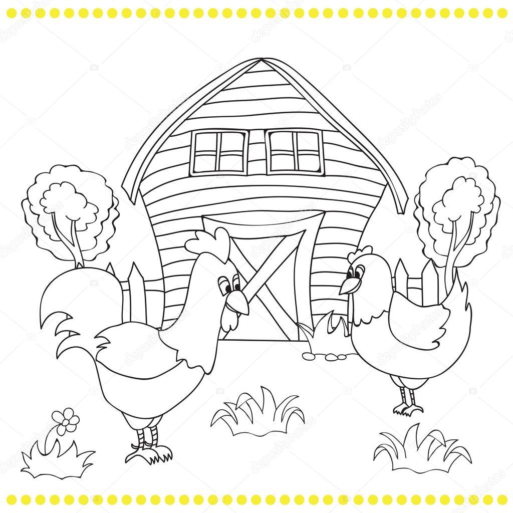 Horoz Ve Tavuk Kırsal Manzara Bacgroung üzerinde Stok Vektör