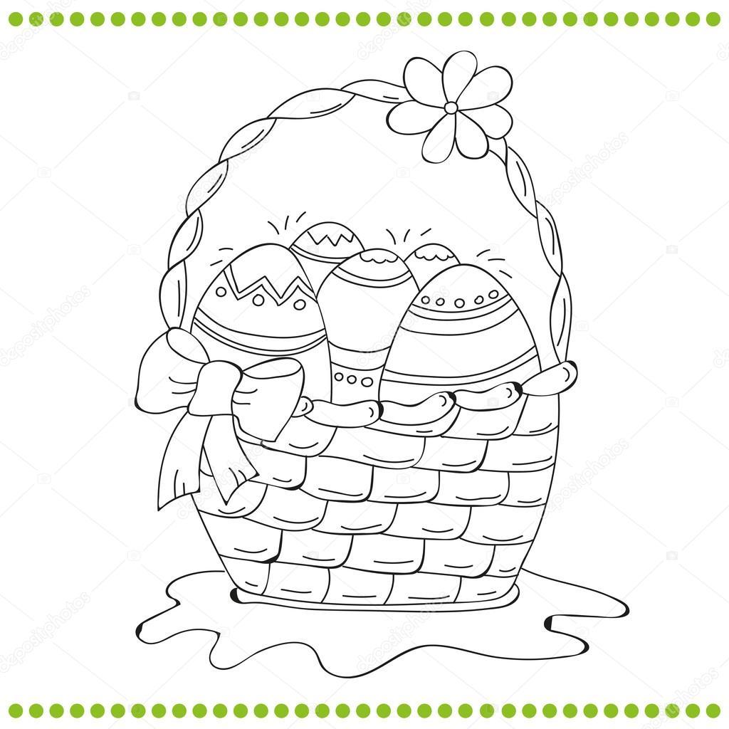 Canasta de Pascua contorneado de huevos — Archivo Imágenes ...