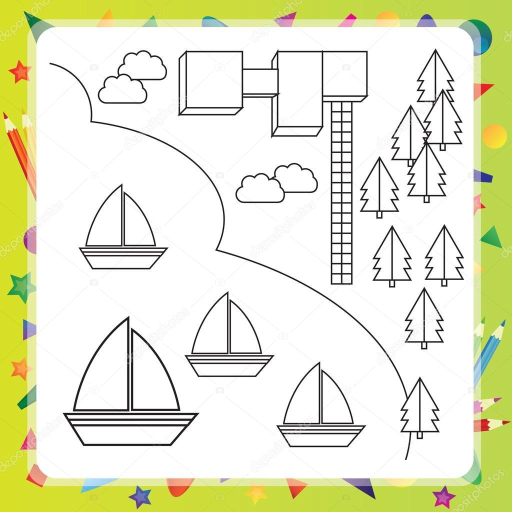 Gemi Vektör çizim Ile Boyama Kitabı Stok Vektör Brill 92904266
