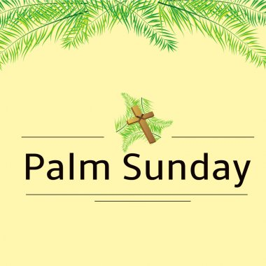 Palm Sunday frond and cross  vector background. Vector illustration for the Christian holiday