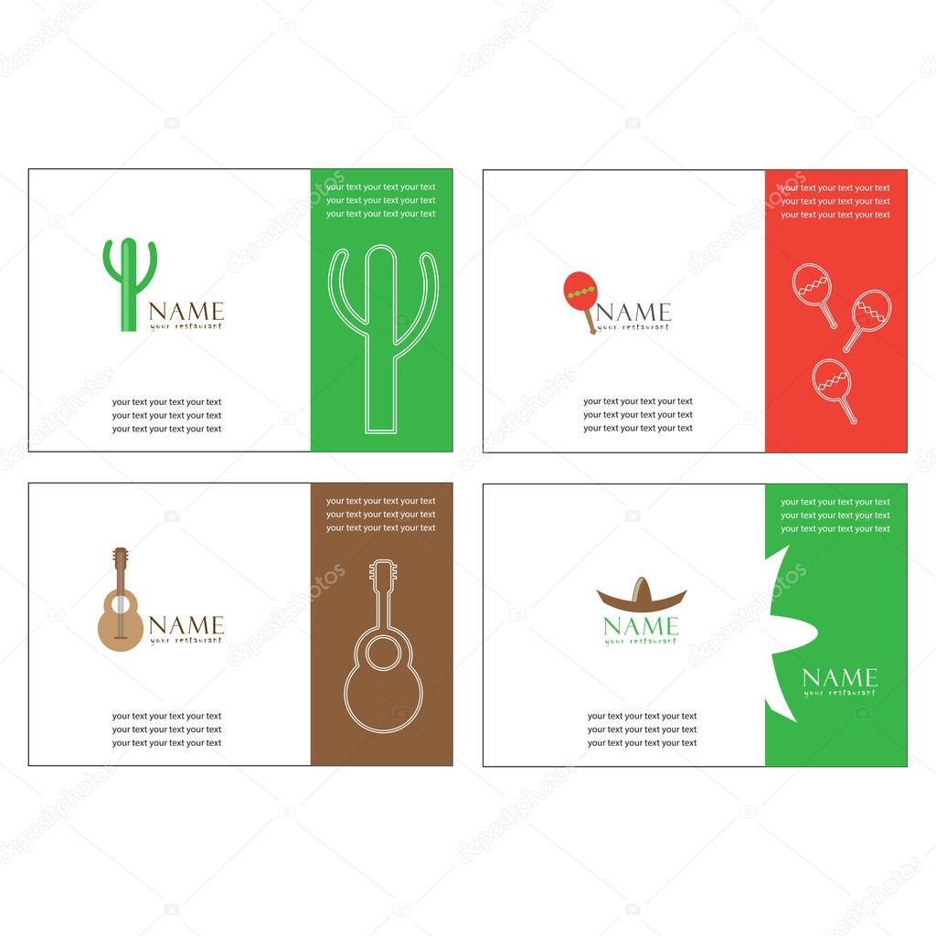 Carte De Visite A Un Restaurant Mexicain Pour Agence Voyages Illustration Stock