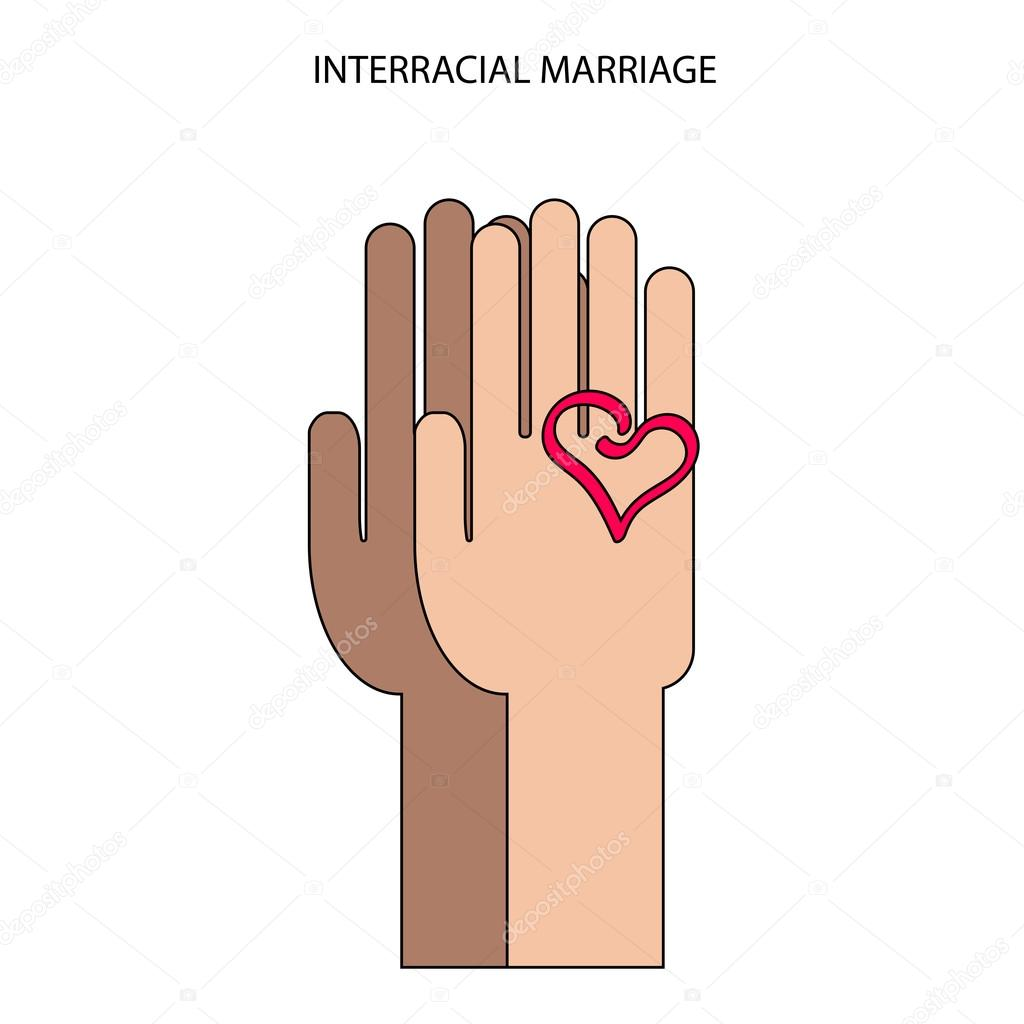 Two Hands In Flat Style Interracial Marriage Symbol Stock Vector