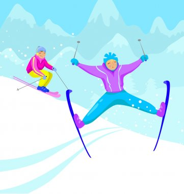 Two skiers on the mountain