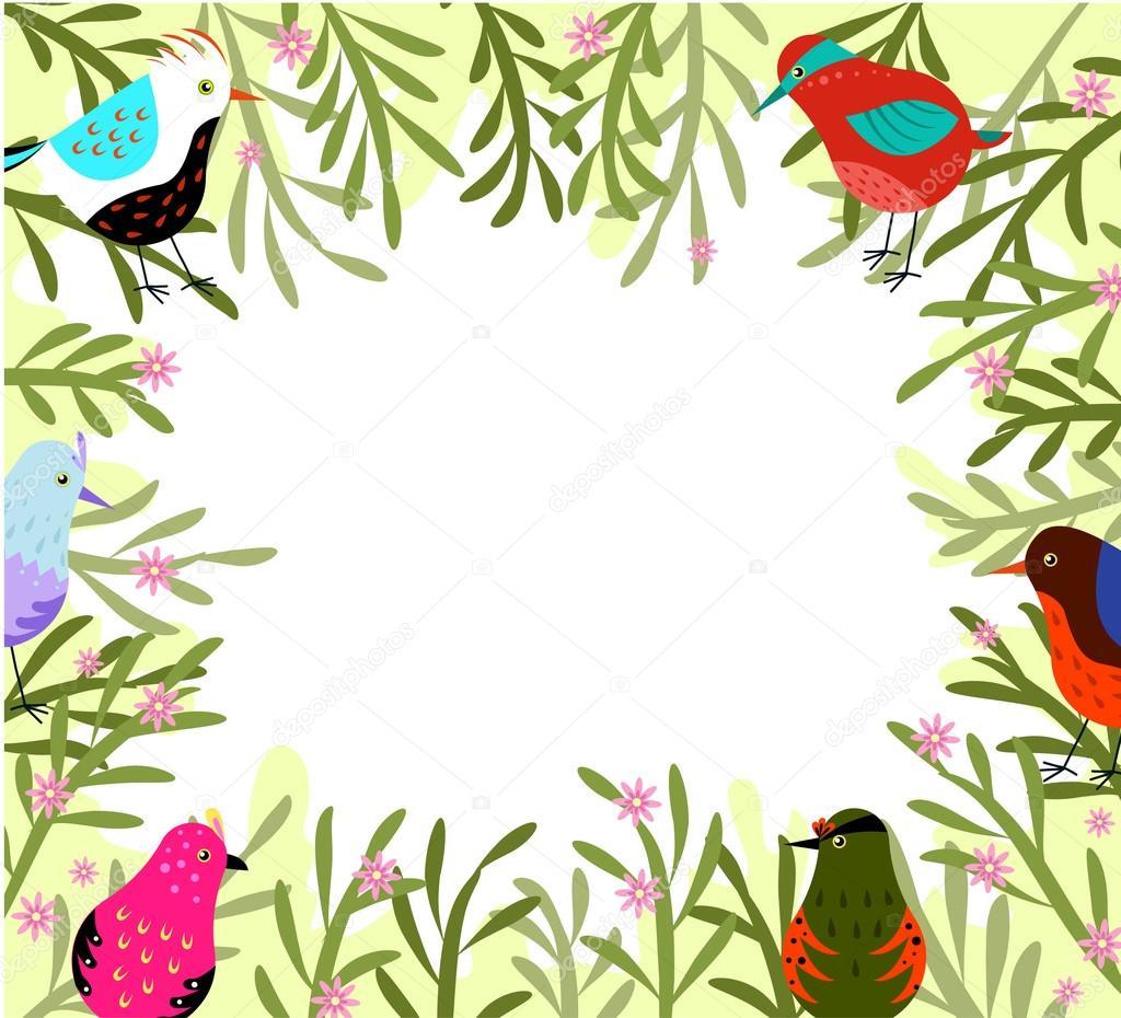 Frühling-Rahmen mit Vögeln und Blumen — Stockvektor © Broccoly #98995462