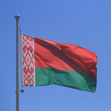 Belarus flag on blue sky