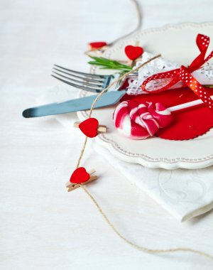 Valentines day table setting with plate