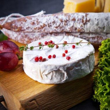 Various cheeses and salami