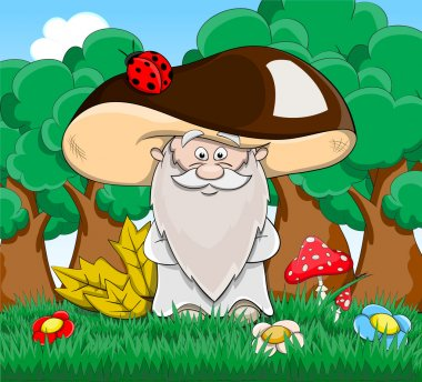 Cute cartoon fabulous old man mushroom