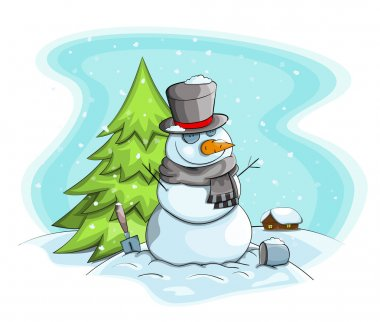 Vector cartoon snowman