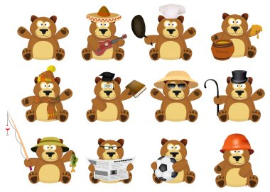 Cute cartoon beavers set