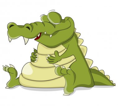 Funny cartoon crocodile