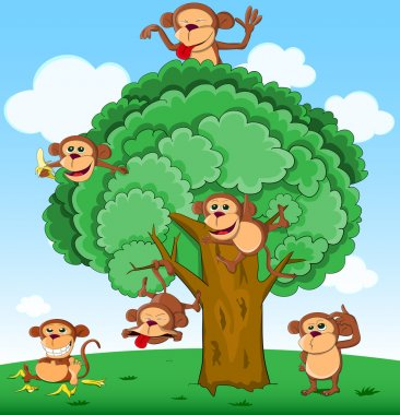 Many monkeys playing on tree