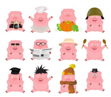 Nice set of cartoon pigs