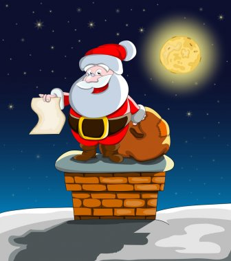Vector cartoon santa on roof