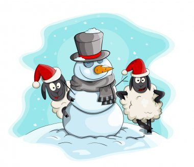 Vector cartoon snowman with sheeps