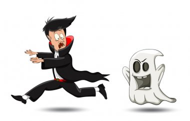 Vector cartoon vampire, running away