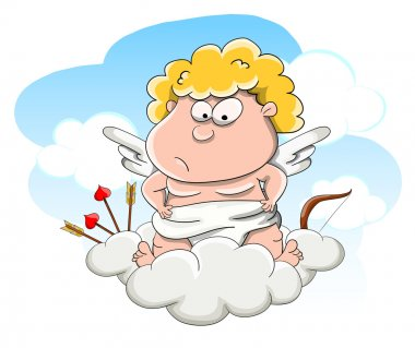 Cute cartoon vector cupid on cloud