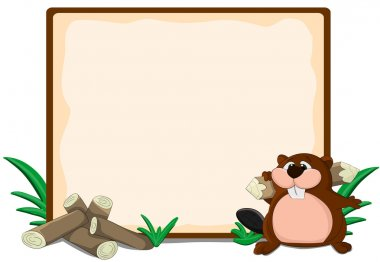 Cute cartoon framework with lags and beaver