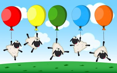 Birthday card with cartoon sheeps